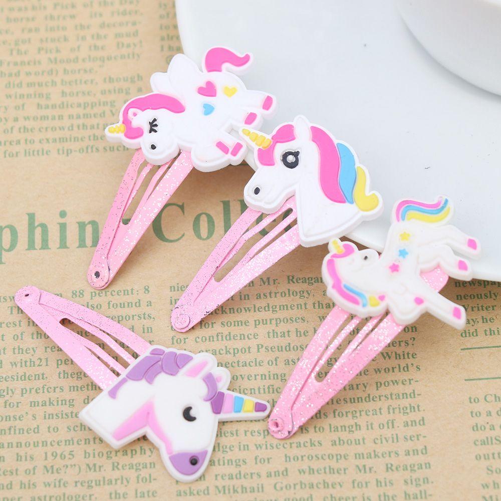 2 Pcs Cartoon Glitter Unicorn Hair Clips Hairpins Cute Animal Plastic Hairclips BB Clips For Kids Girl Hearwear Hair Accessories