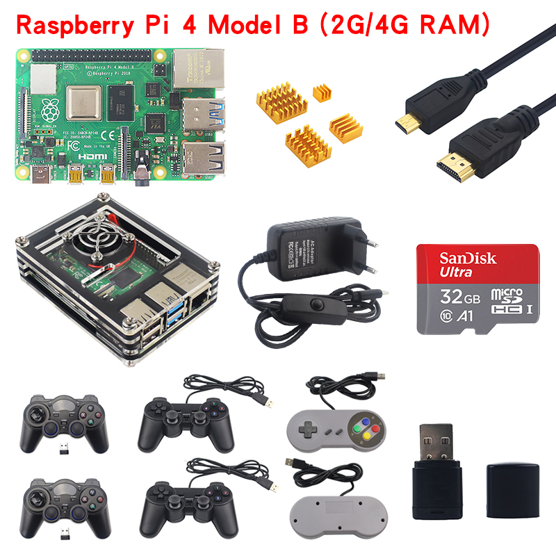 Raspberry Pi 4 Model B Game Kit 2GB/4GB RAM Board + Acrylic Case + Game Controller + Power Adapter + Micro HDMI Cable + SD Card