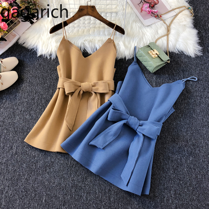 Gagarich 2020 Spring New Women Vests Korean Casual Female V Neck Sashes Waistcoat  Femme Solid Sleeveless Sling Tops  Chic