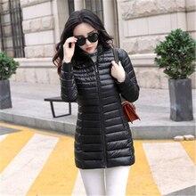 купить Down Long Parka Women 2019 Down Jacket 4XL Plus Ultra Light Cotton Padded Jacket Slim Female Outwear Warm Womens Winter Coat по цене 1367.1 рублей