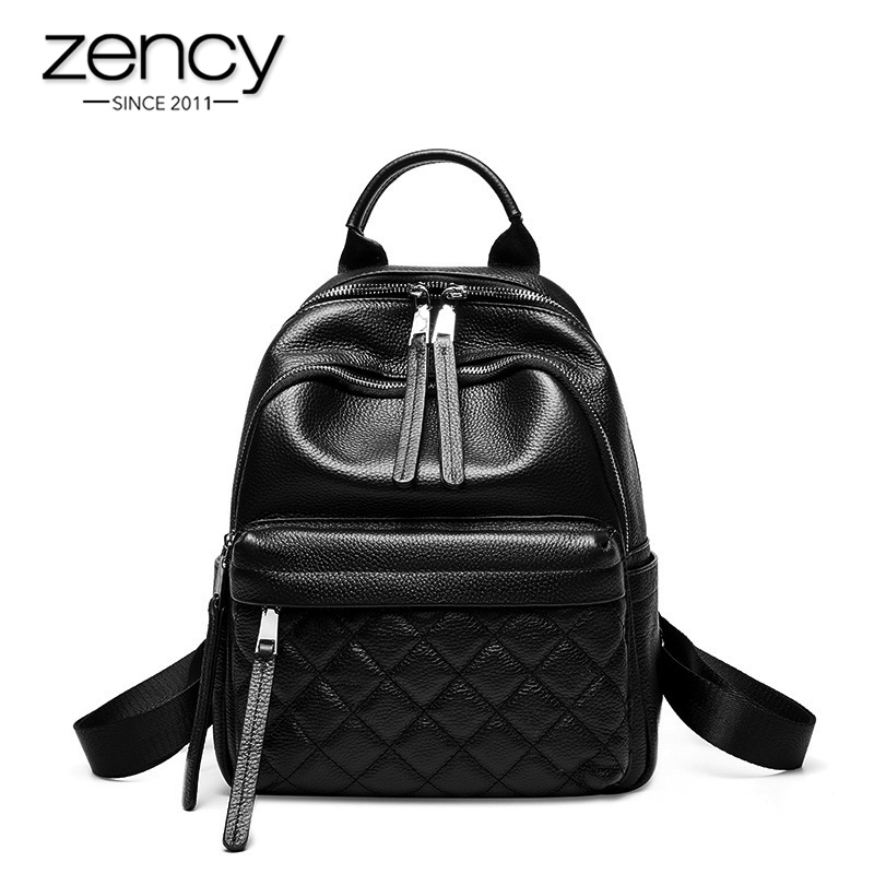 Zency Women's Backpack Made Of Genuine Leather Lattice Knapsack Daily Casual Travel Bag High Quality Black Schoolbag For Student