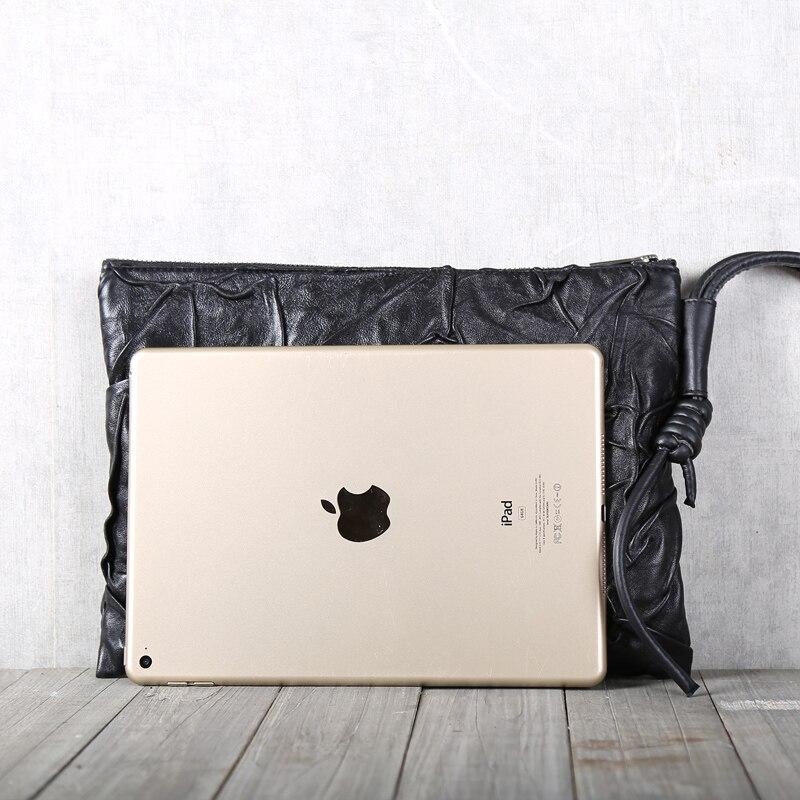 Bolso de mano de piel de oveja superior de cuero genuino suave Casual para hombre carteras largas bolso de teléfono de gran capacidad para mujer bolso de negocios - 3