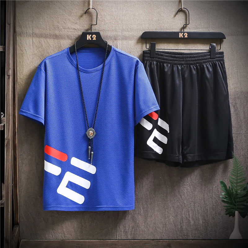 Fashion 2020 New Summer Sports Set Men 2pc Tracksuit Short Sweat Shirt + Shorts Mens Casual Slim Fit Jogger Shirts Sportswears