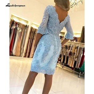 Image 4 - Elegant Beaded Sheath Lace Mother Of The Bride Dresses V Neck Long Sleeves Appliqued Evening Gowns Plus Size Wedding Guest Dress