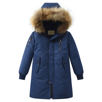 Fashion Winter Warm Thicken 90% White Duck Down Long Child Coat Children Outerwear Boys Down Jackets Kids Outfits For 110-170cm