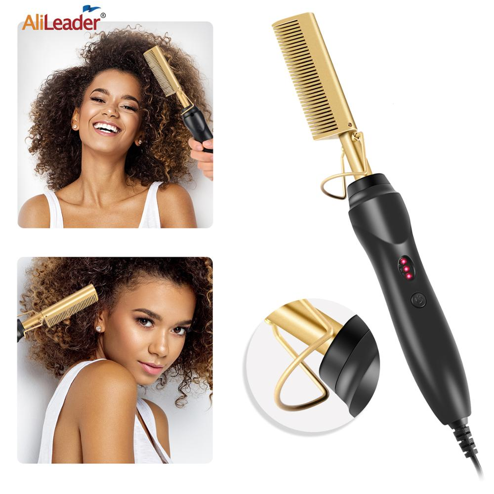 Alileader 2 In 1 Hot Comb Curler And Straightener Eletric Hair Brush Wet And Dry Hair Use Curling Iron Straightening Hair Brush