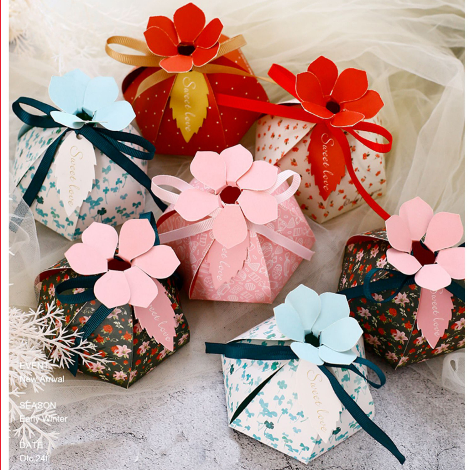 New Multicolor 6 Leaf Petal Candy Paper Favor Box Gift Bags Wedding Favors And Gift Boxes For Wedding Baby Shower Party Supplies