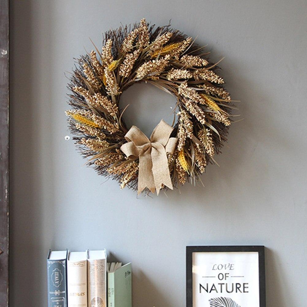 Осенний венок, элегантное украшение для дома, живой искусственный осенний венок с желтыми листьями, для двери, для дома, на стену, на свадебн