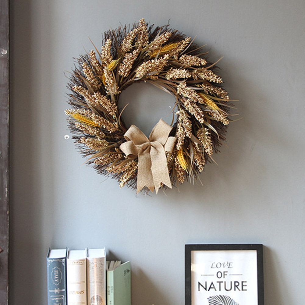 Fall Wreath Elegantly Home Decoration Vivid Artificial Autumn Wreath With Yellow Leaves For Door Indoor Wall Wedding Window