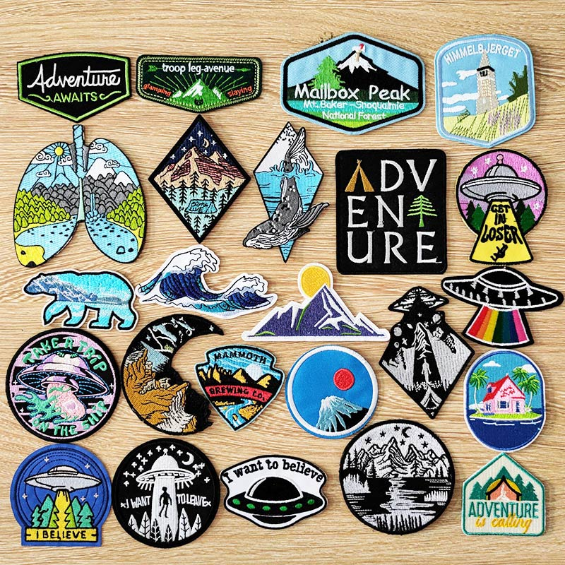 DIY Adventure Travel Patches For Clothing Mountain Camping Badge Space Stripe Iron On Patches On Clothes UFO Embroidery Patch