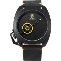 צהבהב כריש ספורט שעון אדום תאריך כתר משמר עיצוב זכר יוקרה אמיתי עור יד שעונים Mens אופנה קוורץ Relogio/ SH446