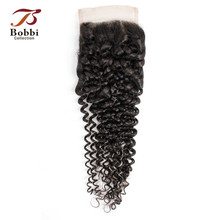 BOBBI COLLECTION Jerry Curly Lace Closure Brazilian Remy Human Hair 4x4 Lace Closure Natural Color Dark Brown Free Middle Part