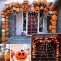 Halloween Dekorationen Spider Web mit Dachrinne Haken Set 16,4 Ft Riesen Outdoor Party Hof Dreieckige Spinne Web Decor Stretch Cobwe