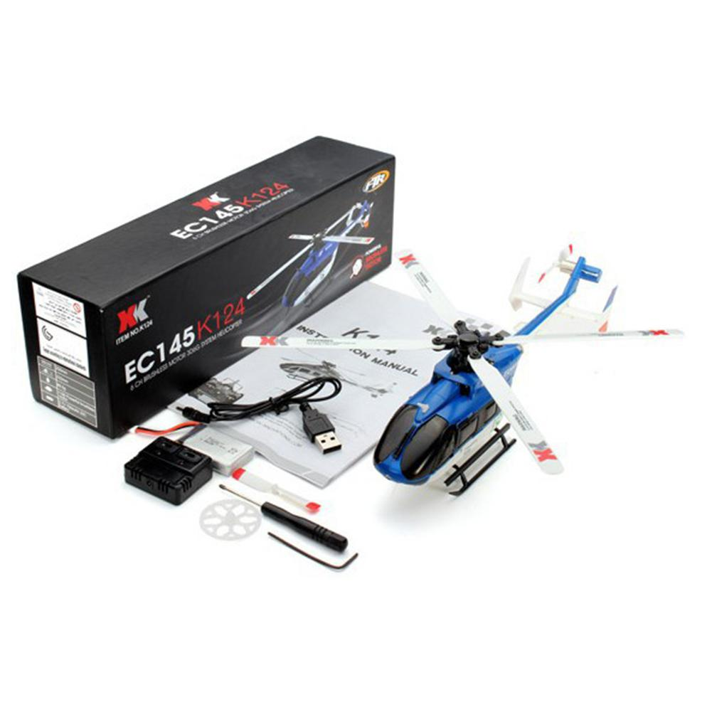 Kuulee XK K124 RC Drone BNF Without Transmitter 6CH Brushless Motor 3D Helicopter System Compatible with FUTABA S-FHSS