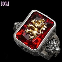 S925 pure silver Rastavibrations male lion gem pure silver thai silver index finger ring men's fashion silver ring