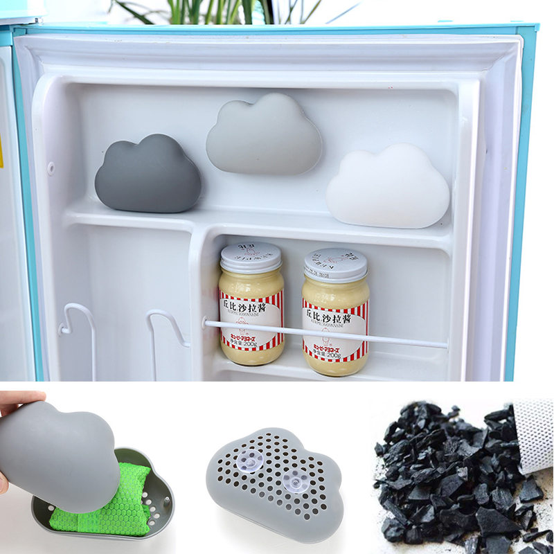 Household Suction Cup Cloud Shaped Fridge Refrigerator Deodorant Box Air Purifier Activated Bamboo Charcoal Odors Smell Remover