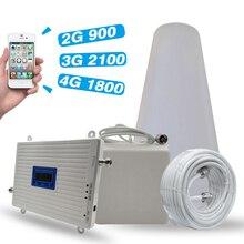 Купить с кэшбэком 2G 3G 4G Tri Band Booster GSM 900+DCS/LTE 1800(B3)+UMTS/WCDMA 2100(B1) Mobile Signal Repeater 900/1800/2100 Signal Amplifier Set