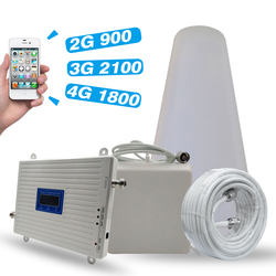 2G 3G 4G triple banda de refuerzo GSM 900 +/DCS/LTE 1800 (B3) +/UMTS WCDMA 2100 (B1) repetidor de señal móvil 900/1800/2100 amplificador de señal conjunto