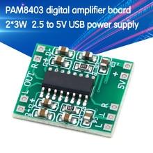 10 pces pam8403 módulo super placa de amplificador digital 2*3w classe d placa amplificador digital eficiente 2.5 a 5v usb fonte alimentação