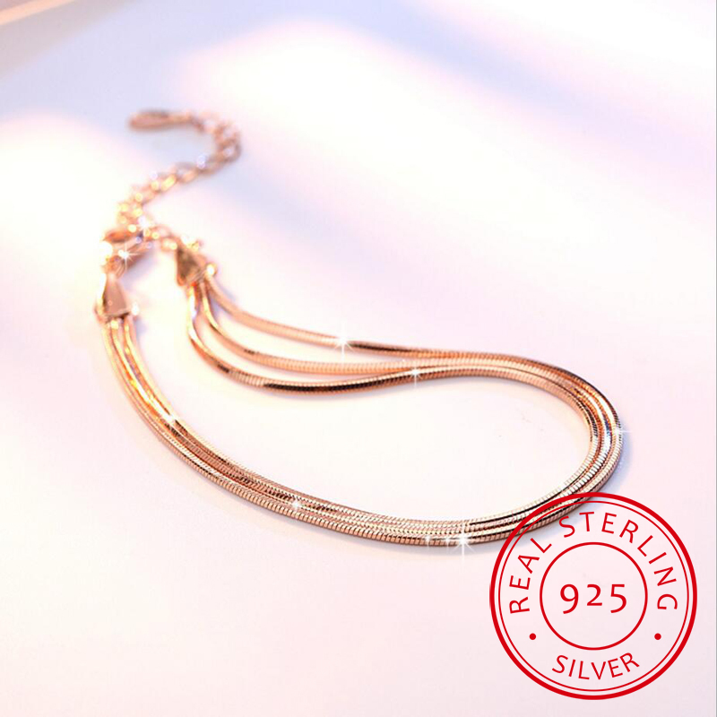 925 Sterling Silver Multilayer Fine Bracelet Three-layer Simple Temperament Personality Sweet For Women Gift New VBS4145