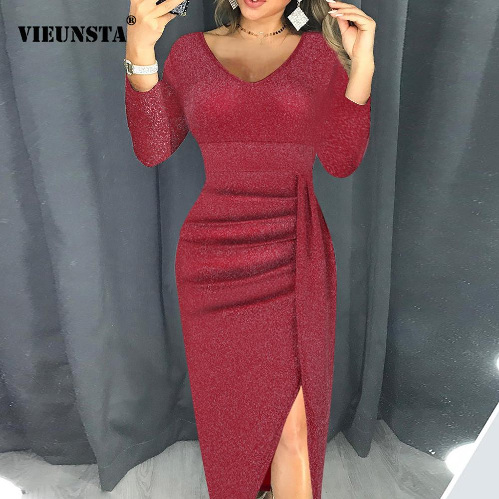 VIEUNSTA Sexy V-neck Slim Party Dress Women High Slit Peplum Bodycon Dress Autumn Three Quarter Sleeve Bright Silk Shiny Dress