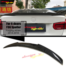 For BMW F36 4-door Hard top Rear trunk Spoiler Wing Forging Carbon M4 Style 4 series 420i 430i 428i 440i Tail Spoiler Wing 14-18 f32 2 doors hard top tail spoiler wing forging carbon m4 style for bmw 4 series 420i 430i 430igc 440i trunk spoiler wing 2014 18