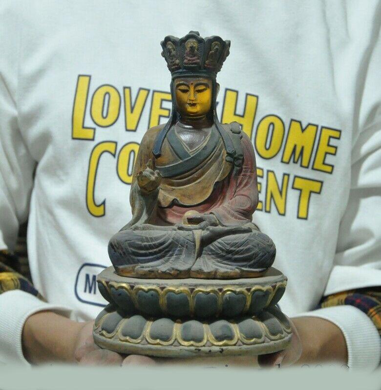 Wedding Decoration China Temple Glass Painted Gold Ksitigarbha Jizo Monk Bodhisattva Buddha Statue