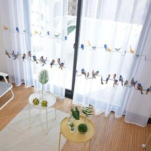Image 5 - Пасторальная штора из хлопка и льна, занавеска для гостиной, спальни, с вышивкой птиц, белая тюль, прозрачная занавеска для окон