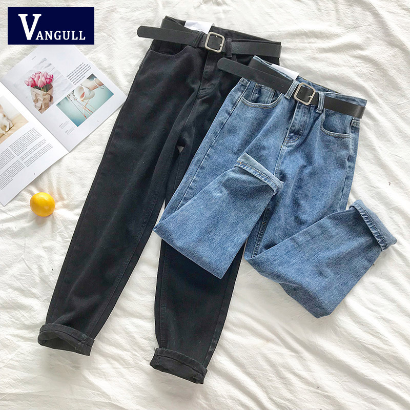 Vangull High Waist Jeans Women Solid Belt Harem Pants Loose Casual New Cotton High Street Denim Trousers Pantalon Femme Jeans