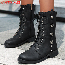 Black punk Motorcycle boots Low heel Ankle boots for women Platform combat Boots Ladies Spring Autumn shoes woman short boots red ankle boots studded rivets military boots designer shoes women luxury 2018 short combat cowboy boots womens buckle strap