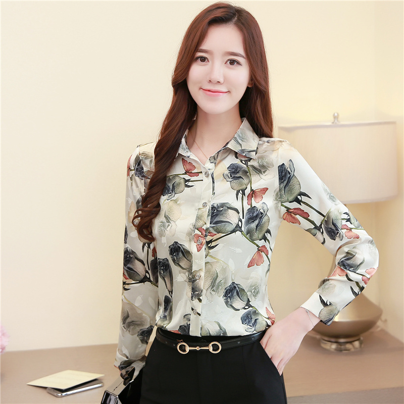 2020 Spring New Floral Blouse Women Slim Women's Blouses Long Casual Turn-down Colla Violet Green Rose Light gray Ladies Tops