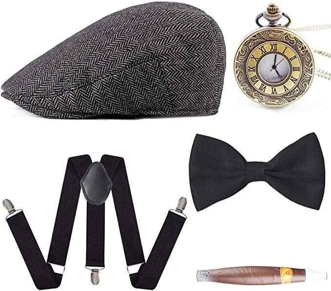 ドロップ配送 1920 メンズギャツビーギャング衣装アクセサリーセットパナママンハッタン Fedora 弓シガー