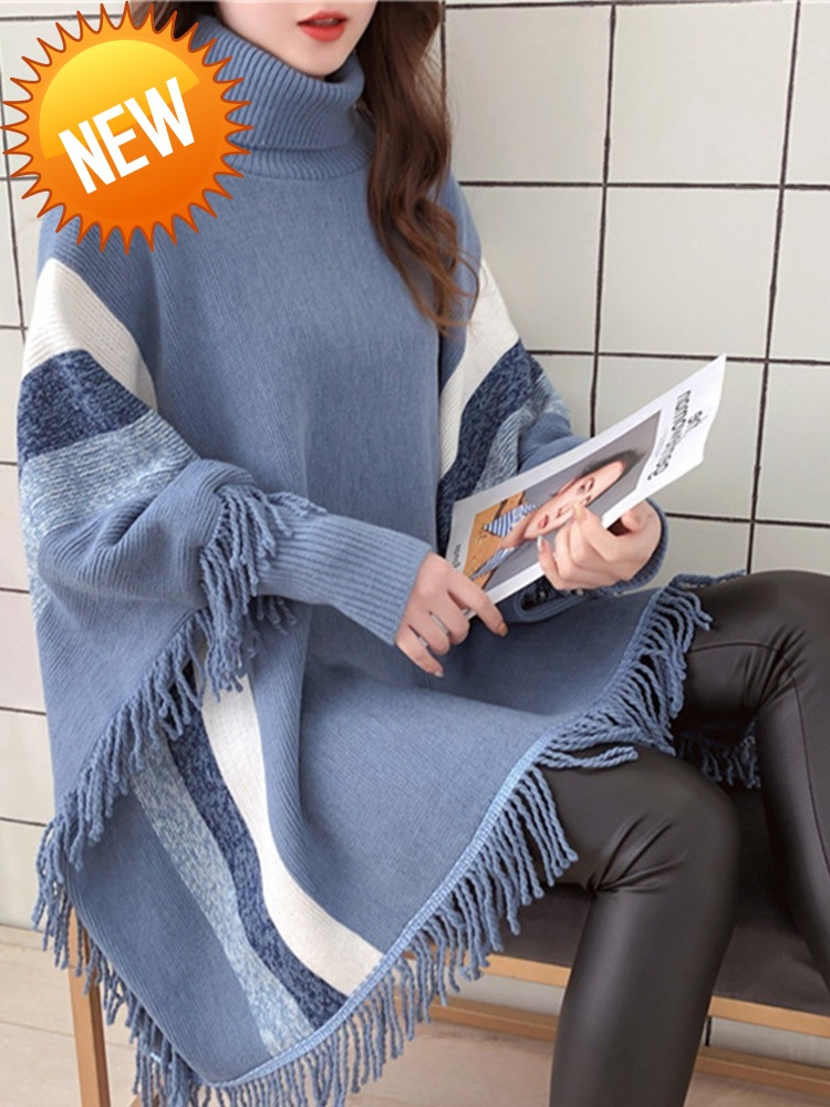 Fashion New Womens Spring Capes And Ponchoes Women Fashion Blue Tassel Pullovers Plus Size Women Knitted Sweater Coat