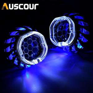 2.5 Honeycomb Headlight Lens Bi-xenon Projector Double LED Halo Lens For H4 H7 Car Lights Accessories Tuning Use H1 HID Bulb