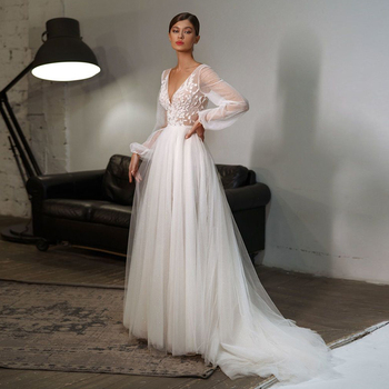 Eightale Bohemian Wedding Dresses V-Neck Appliques Puff Sleeves Beach Gowns Bridal Dress vestidos boho hippie chic - discount item  38% OFF Wedding Dresses