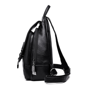 Image 3 - 패션 캐주얼 부드러운 가죽 여성 여행 배낭 고품질 튼튼한 가죽 배낭 지퍼 스트랩 디자인 여성 배낭
