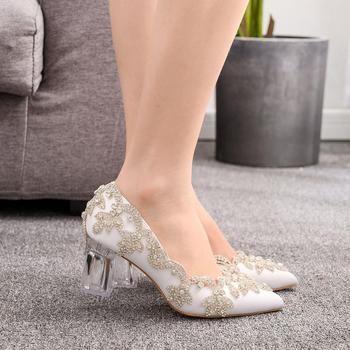 Women Bride Shoes High Heels Wedding Thin Heels White Diamond Glittering Evening Dress Shoe Luxury Crystal Pumps For Party