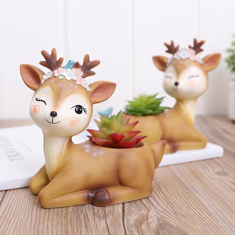 1 piece Cartoon Deer Flowerpot Succulent Planter Pots Animal Sika Deer Craft Desktop Cactus Flower Pot Fairy Garden Decor (12)