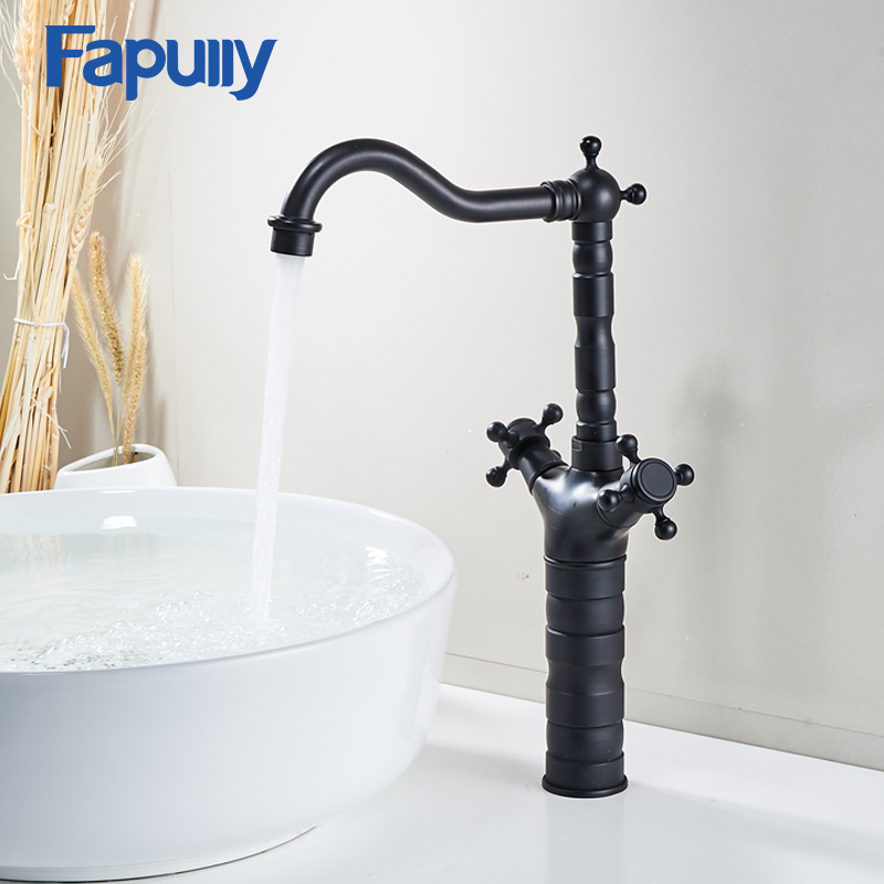 Fapully Bathroom Basin mixer Taps Double Handle Cold Hot Oil Rubbed Bronze Faucets