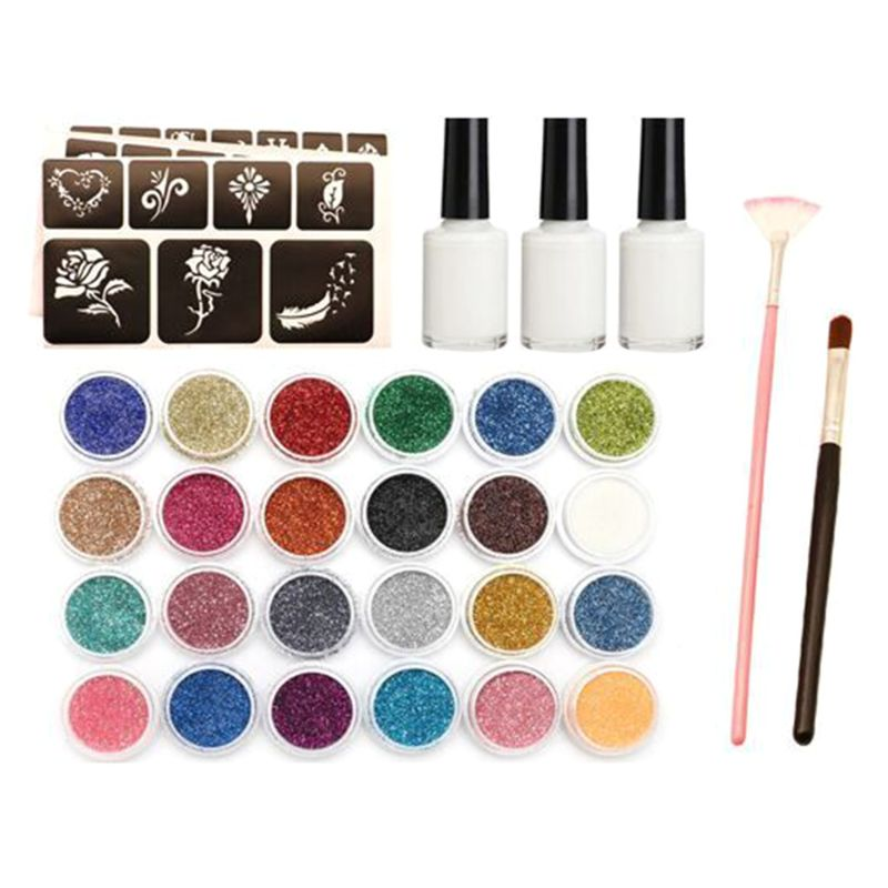 Glitter Powder Temporary Tattoo Children Adults Face Body Painting Art Tools Suit