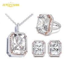 цена Jewepisode 925 Sterling Silver Jewelry Set Spinel Diamond Necklace/Earrings/Ring Sets for Women Party Valentine's Gift Wholesale онлайн в 2017 году