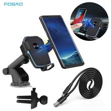 FDGAO Qi Car Wireless Charger for iPhone X XS XR 8 Plus Samsung S9 S10 Mobile Phone Charger 10W Fast Charging Car Phone Holder aiyima 10w qi wireless charger fast wireless car charger automatic induction car phone holder for iphone 8 8 plus x samsung s9