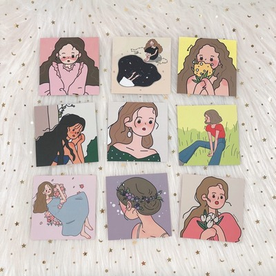 9 Sheets Kawaii Girl Illustration Series Card Decorative Sticker Writable Postcard Metope Decoration Card Diy Photography Props