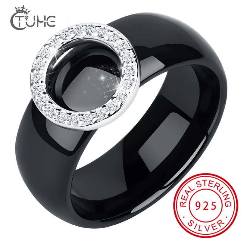 2019 Elegant Circle Crystal Rings 8mm Width Healthy Ceramic Rings With Circle Shape Women Wedding Engagement Gift Wholesale