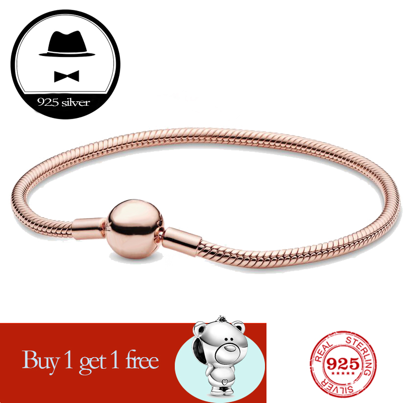 FIT original authentic 100% 925 sterling silver <font><b>pan</b></font> <font><b>charm</b></font> chain <font><b>bracelet</b></font> for women fashion classic luxury jewelry snake <font><b>bracelet</b></font> image