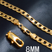 Hot new 18K gold Necklaces 20 Inches Classic 8MM sideways chain Necklace for Men high quality Jewelrys Gifts Wedding party