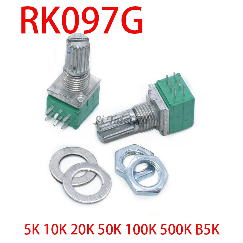 5pcs RK097G 5K 10K 20K 50K 100K 500K B5K With A Switch Audio 6pin Shaft 15mm  Amplifier Sealing Potentiometer