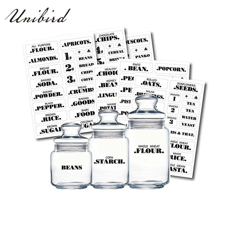 Unibird 132Pcs/Set Water-Proof Food Stickers for Kitchen Spice Jar Seasoning Bottle Chalkboard Label for Salt&Pepper Container
