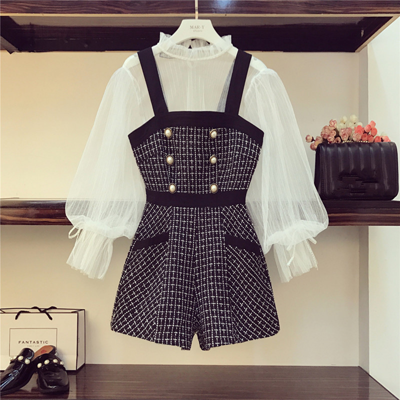 New 2019 Autumn Tweed Playsuits 2 Piece Set Women's White Lantern Sleeve Mesh Sexy Shirt And Pearl Button Rompers Set Overalls