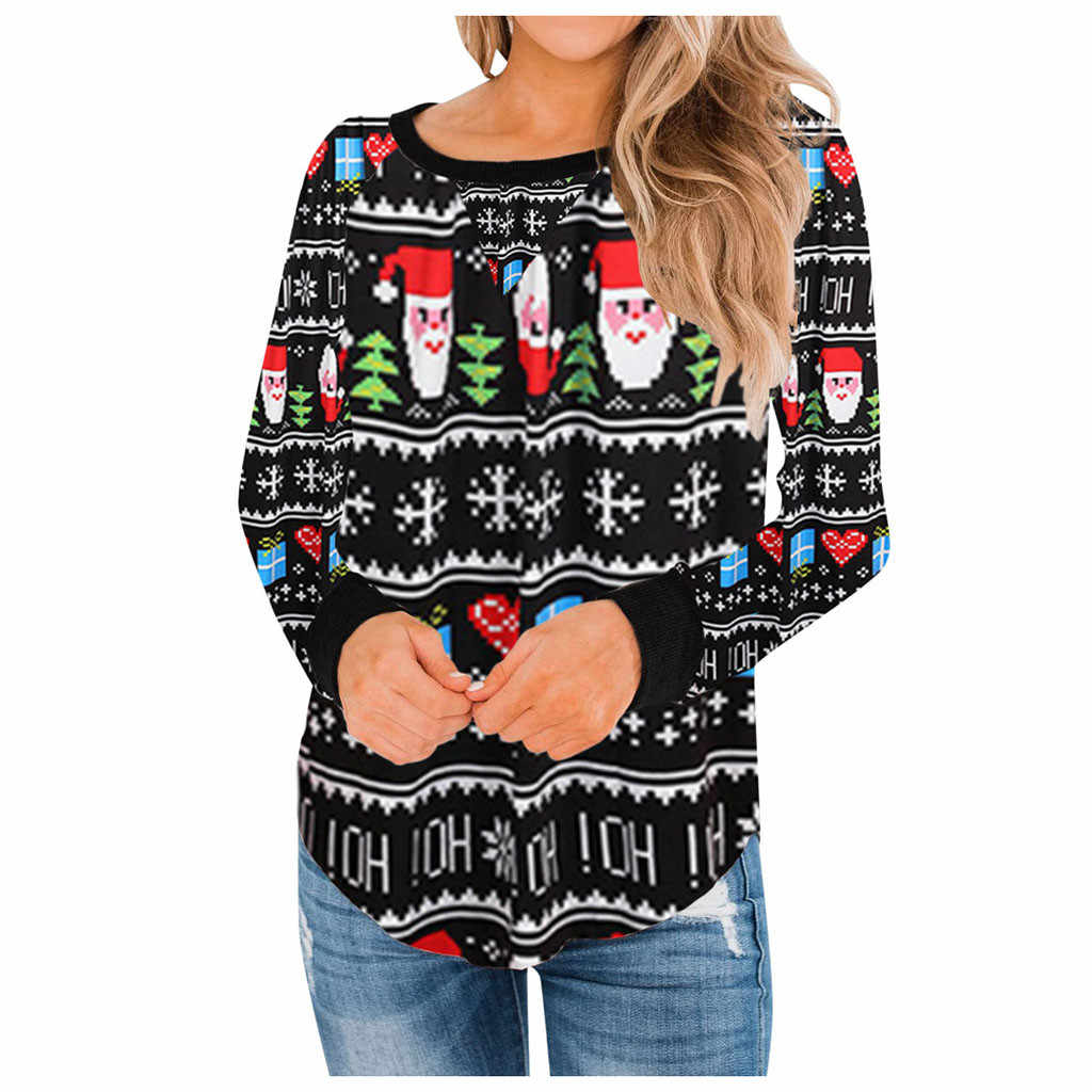 Warm Brief Polyester Sweaters Clothing Winter Knitting Pullovers Christmas Women O Neck Print Ladies Long Sleeve Pullover